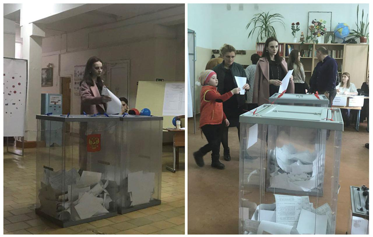 <p>A combination picture shows a voter, casting a ballot at a polling station number 216 (L) and walking with a ballot at a polling station number 217, during the presidential election in Ust-Djeguta, Russia March 18, 2018. The voter, asked by a Reuters reporter to explain why she was voting multiple times, ignored the question and walked away. (Reuters staff) </p>