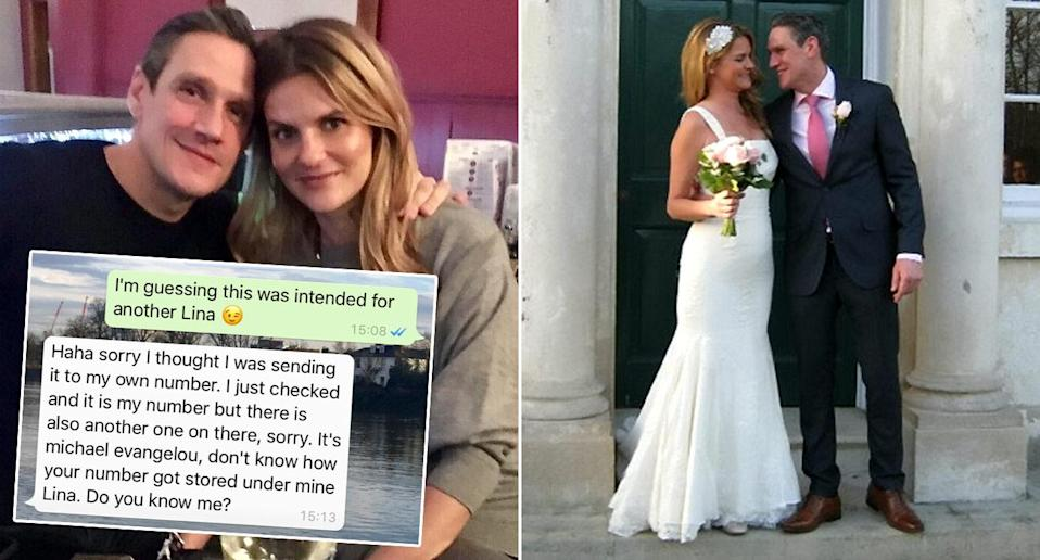 Michael Evangelou sent stranger Lina Dahlbeck a WhatsApp by mistake – three months later they were married (Pictures: SWNS)