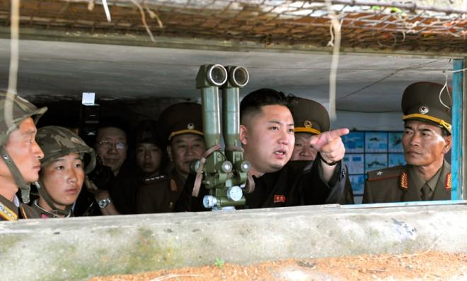 Kim Jong-Un visits a military unit on an island southwest of Pyongyang in August 2012.