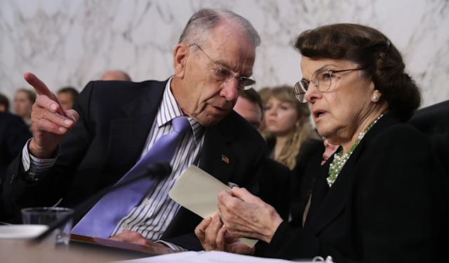 Sens. Chuck Grassley (R-Iowa) and Dianne Feinstein (D-Calif.) will be hearing from Christine Blasey Ford and Supreme Court nominee Brett Kavanaugh on Thursday. (Photo: Chip Somodevilla/Getty Images)
