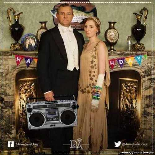 Downton Abbey promotional photo with boom box and happy birthday banner