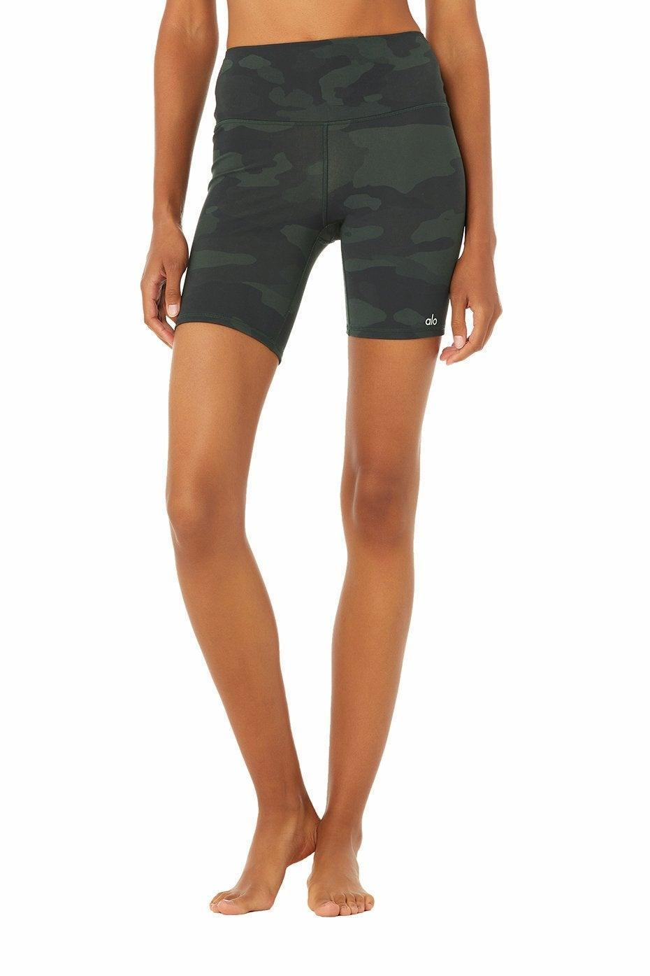 """<h2>Alo Yoga High-Waist Vapor Shorts</h2>The ultralight, smooth performance fabric on this pair of biker shorts will make any kind of exercise — from a hard run to a chill bike ride — a breeze. <br> <br> <strong>Alo Yoga</strong> High-Waist Vapor Short, $, available at <a href=""""https://go.skimresources.com/?id=30283X879131&url=https%3A%2F%2Fwww.aloyoga.com%2Fproducts%2Fw6162r-high-waist-vapor-short-hunter-camouflage"""" rel=""""nofollow noopener"""" target=""""_blank"""" data-ylk=""""slk:Alo Yoga"""" class=""""link rapid-noclick-resp"""">Alo Yoga</a>"""