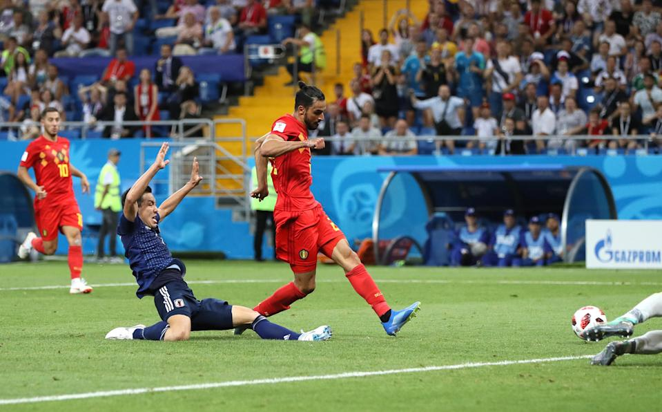 Nacer Chadli of Belgium scores the winning goal during the 2018 FIFA World Cup Russia Round of 16 match between Belgium and Japan at Rostov Arena on July 2, 2018 in Rostov-on-Don, Russia. (Getty Images)