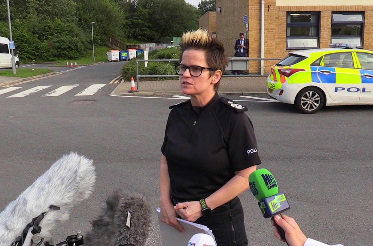Derbyshire Deputy Chief Constable Rachel Swann speaking after a residents' meeting at Chapel-en-le-Frith high school. Swann told residents that people refusing to leave the Derbyshire town of Whaley Bridge, where it is feared a damaged dam could burst, have been warned they are are putting their own lives and those of the emergency services at risk.