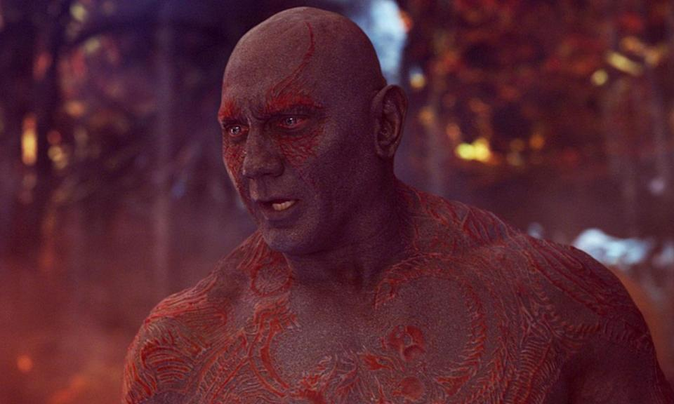 <p><span><strong>Played by:</strong> Dave Bautista</span><br><strong>Last appearance: </strong><i><span>Guardians of the Galaxy Vol. 2</span></i><br><span><strong>What's he up to?</strong> Drax continues to have no filter when it comes to communicating with others. He tells Mantis that she is beautiful, on the inside, hinting that there is a potential romance between them.</span> </p>