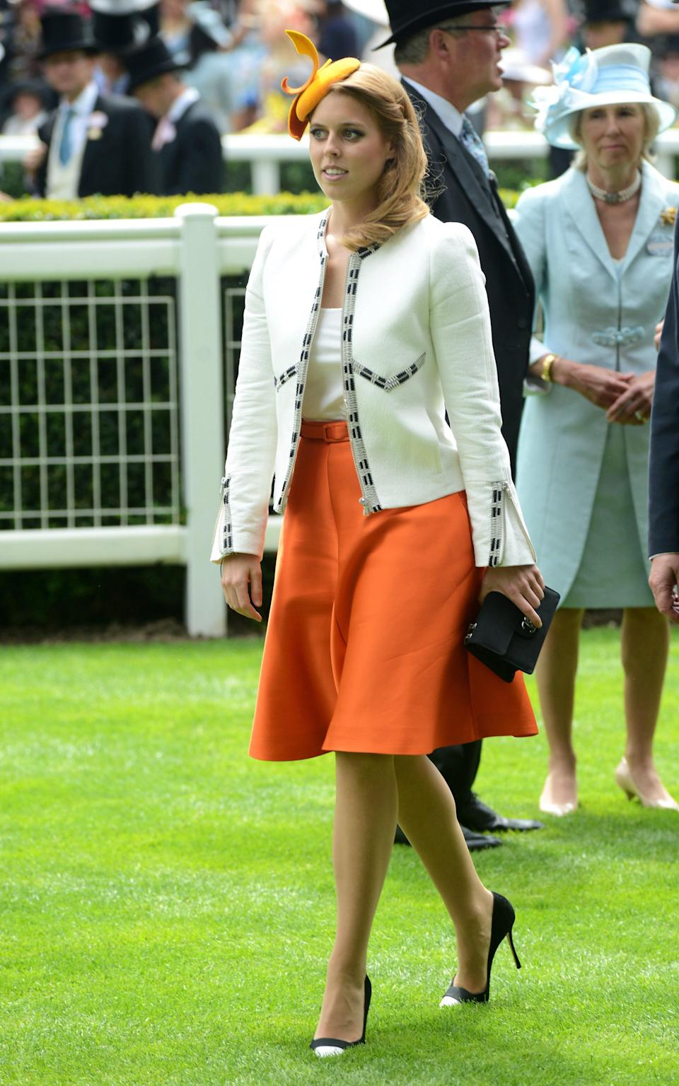 Princess Beatrice of York is seen about to present the Ribblesdale Stakes trophy during day three of Royal Ascot - Getty