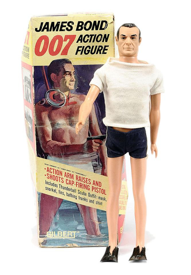 <p>Considering how long the franchise has been going, it's surprising how few James Bond action figures have been made. One of exceptions was this doll of Sean Connery's Bond, dressed in a tiny swimsuit and flippers, pitched as a Christmas gift for children by the Gilbert toy company in 1965. (Photo: Gilbert)</p>