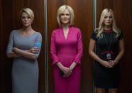 """This image released by Lionsgate shows Charlize Theron, from left, Nicole Kidman and Margot Robbie in a scene from """"Bombshell."""" The film was nominated for a GLAAD Media Award for outstanding wide release film on Wednesday, Jan. 8, 2020. (Hilary B. Gayle/Lionsgate via AP)"""
