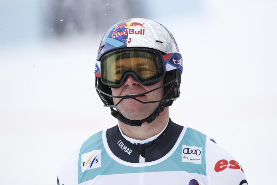 France's Alexis Pinturault gets to the finish rea after completing an alpine ski, men's World Cup slalom, in Lenzerheide, Switzerland, Sunday, March 21, 2021. (AP Photo/Gabriele Facciotti)