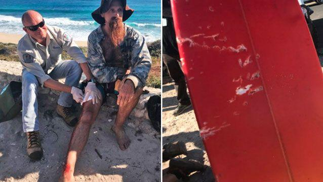 Jason Longrass was bitten by a shark near Cobblestones Beach, southwest of Perth on Monday. Source: 7 News