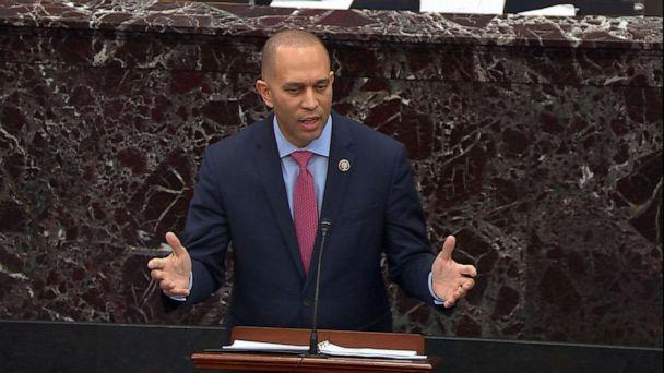 PHOTO: House Manager Rep. Hakeem Jeffries delivers his closing argument during the impeachment trial of President Donald Trump, Feb. 3, 2020, at the Capitol. (ABC News)