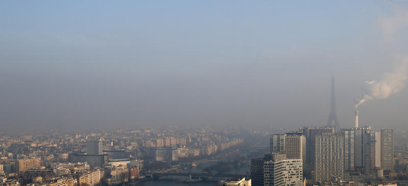 Smog clinging to the skyline of Paris. Indoor air pollution isn't always as visible as outdoor pollution.  (Philippe Wojazer / Reuters)