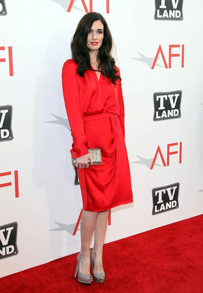 """Many people aren't yet familiar with Spanish screen siren Paz Vega, but she looked so glam in head-to-toe Ferragamo -- at the AFI Life Achievement Awards, honoring Morgan Freeman -- that I couldn't resist including her in this week's 2 Hot 2 Handle. Jen Lowery/<a href=""""http://www.splashnewsonline.com"""" target=""""new"""">Splash News</a> - June 9, 2011"""
