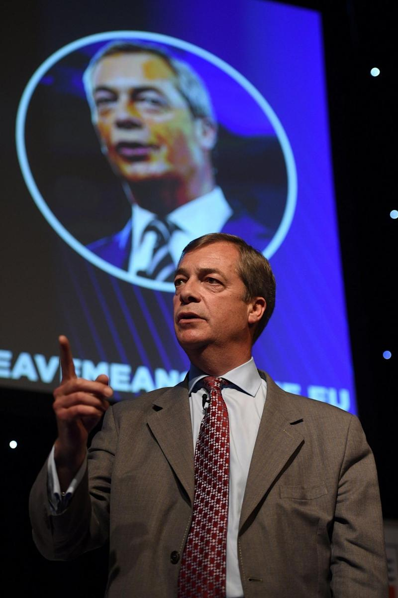 Nigel Farage was cheered as he branded the EU 'gangsters' (AFP/Getty Images)