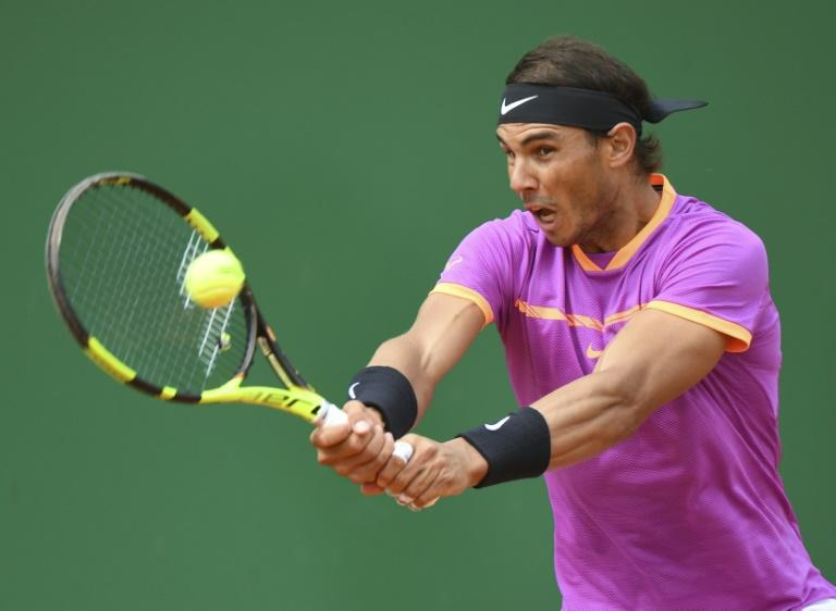 Spain's Rafael Nadal returns the ball to Spain's Albert Ramos-Vinolas during the final of Monte-Carlo ATP Masters Series Tournament tennis match, on April 23, 2017 in Monaco