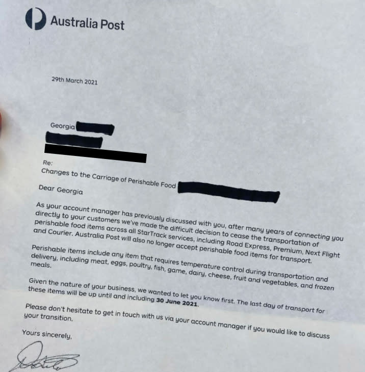 A letter from Australia Post saying it will no longer deliver perishable food items.