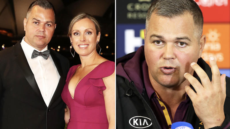 Anthony Seibold, pictured here speaking to the media after a Brisbane Broncos coach.