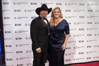 2020 Kennedy Center honoree, country singer-songwriter Garth Brooks stands with his wife, Trisha Yearwood, at the 43nd Annual Kennedy Center Honors at The Kennedy Center on Friday, May 21, 2021, in Washington. (AP Photo/Kevin Wolf)