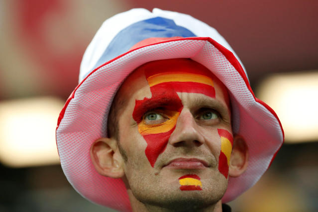 Soccer Football - World Cup - Group B - Spain vs Morocco - Kaliningrad Stadium, Kaliningrad, Russia - June 25, 2018 Spain fan inside the stadium before the match REUTERS/Christian Hartmann