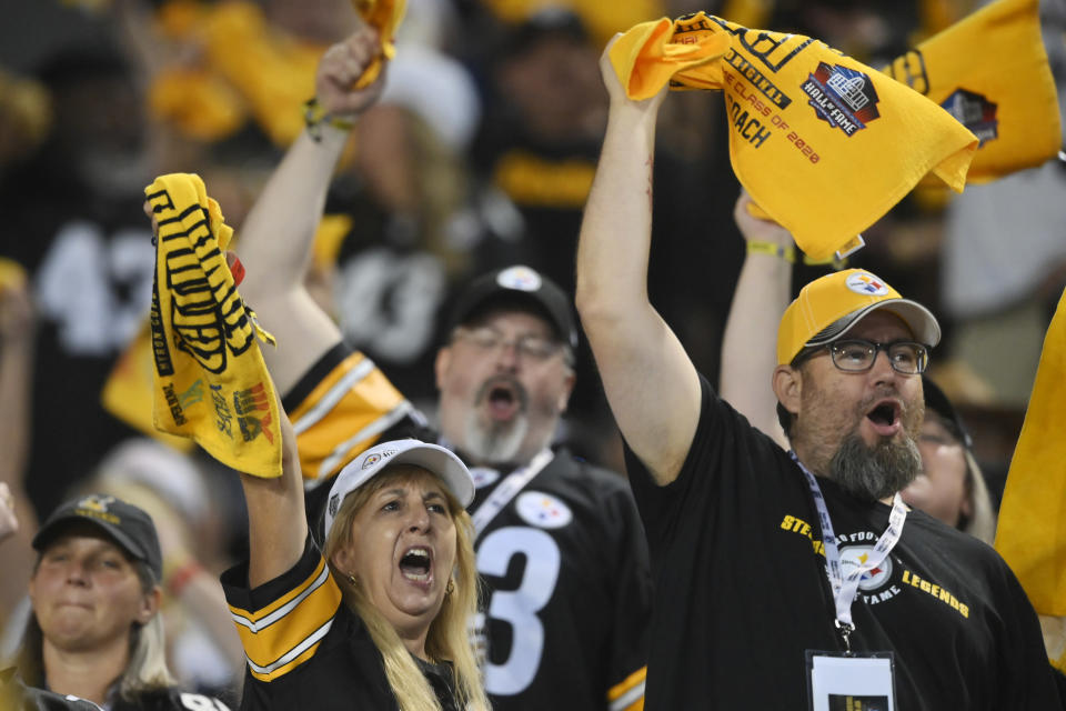 Pittsburgh Steelers fans cheer during the second half of the Pro Football Hall of Fame NFL preseason game against the Dallas Cowboys, Thursday, Aug. 5, 2021, in Canton, Ohio. (AP Photo/David Richard)