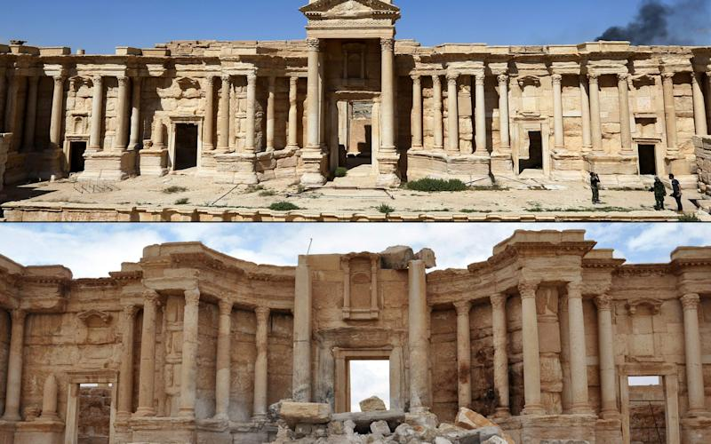 A file photo taken on March 31, 2016, (top) of the amphitheatre in the ancient city of Palmyra in central Syria, and a photo (bottom) taken on March 3, 2017, of the amphitheatre displaying damage - Credit: AFP