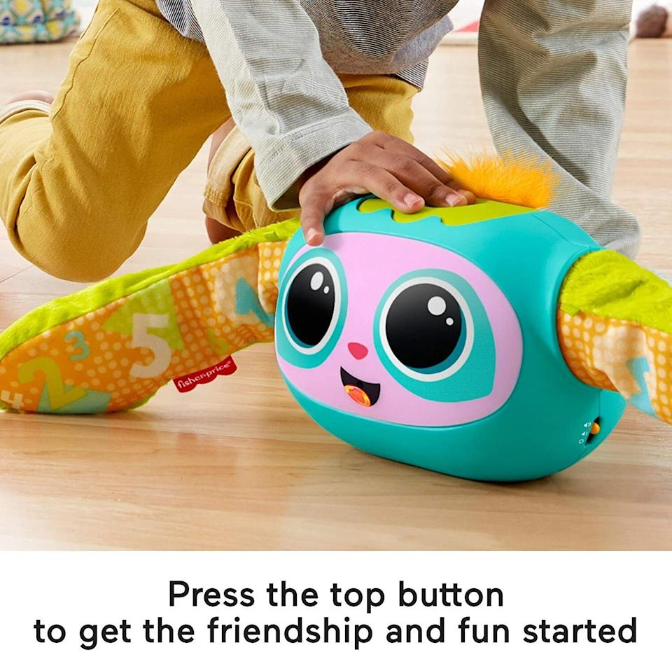 """It hasfour play modes as the baby grows from an infant to a toddler to a preschooler, teaching the alphabet, counting, opposites and how to follow directions while busting out 190+ sounds, songs and phrases.<br /><br /><strong>Promising review:</strong>""""Oh my goodness! My 20-month-old son adores Rovee! The singing, dancing, stretching, and ball play, Rovee is the best!"""" --<a href=""""https://www.amazon.com/dp/B083W1BWPQ?tag=huffpost-bfsyndication-20&ascsubtag=5764152%2C5%2C40%2Cd%2C0%2C0%2C0%2C962%3A1%3B901%3A2%3B900%3A2%3B974%3A3%3B975%3A2%3B982%3A2%2C15993473%2C0"""" target=""""_blank"""" rel=""""noopener noreferrer"""">Nisella</a><br /><br /><strong>Get it from Amazon for <a href=""""https://www.amazon.com/dp/B083W1BWPQ?tag=huffpost-bfsyndication-20&ascsubtag=5764152%2C5%2C40%2Cd%2C0%2C0%2C0%2C962%3A1%3B901%3A2%3B900%3A2%3B974%3A3%3B975%3A2%3B982%3A2%2C15993473%2C0"""" target=""""_blank"""" rel=""""noopener noreferrer"""">$38.88</a>.</strong>"""