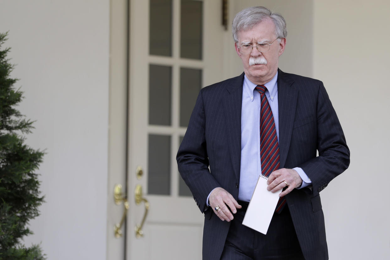 National security adviser John Bolton outside the White House in April. (Photo: Evan Vucci/AP)
