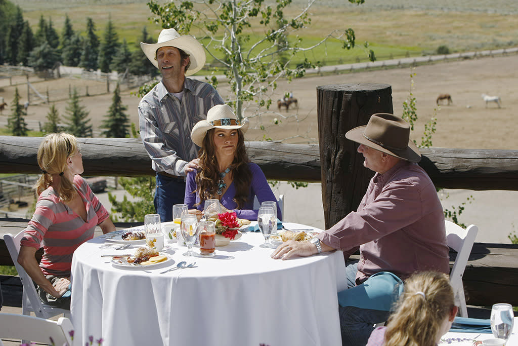 "<p><strong>""Dude Ranch"" (2011)</strong><br /><br />An annual family vacation is a must for the Pritchett-Dunphy-Delgado-Tucker family — the supersize clan has traveled everywhere from Hawaii to Down Under in episodes filmed on location. But in 2011, the gang rode off to a Jackson Hole, Wyo., dude ranch, where Phil (Ty Burrell) got into full cowboy mode after announcing he'd practiced all the core cowboy skills: ""Shootin', ropin', pancake eatin'."" Yee-haw!<br /><br />(Photo: Rick Rowell/ABC via Getty Images) </p>"