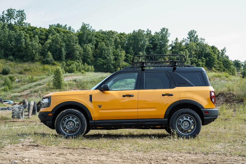 A side view of an all-new 4-door Ford Bronco Sport rugged small SUV is seen in Holly on July 10, 2020.