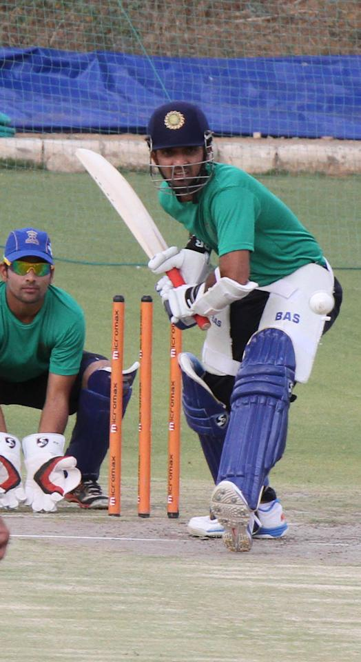Rajasthan Royals batsman Ajinkya Rahane in action at the RCA academy, Sawai Mansingh Stadium in Jaipur on March 29th, 2013