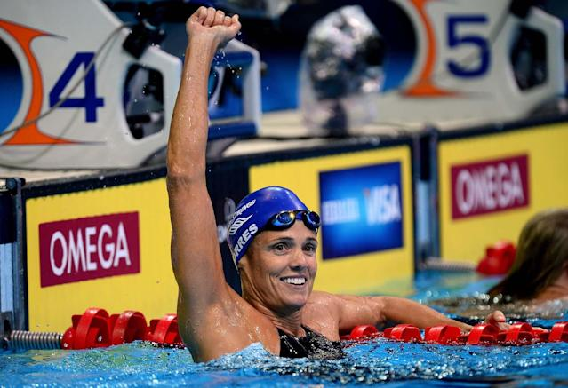 OMAHA, NE - JULY 01: Dara Torres celebrates after she competed in the second semi final heat of the Women's 50 m Freestyle during Day Seven of the 2012 U.S. Olympic Swimming Team Trials at CenturyLink Center on July 1, 2012 in Omaha, Nebraska. (Photo by Jamie Squire/Getty Images)