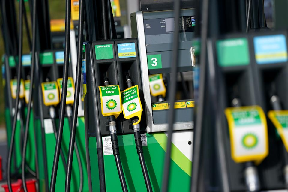 Out of use fuel pumps at a BP petrol station in Birmingham. Picture date: Tuesday September 28, 2021. (Photo by Jacob King/PA Images via Getty Images)