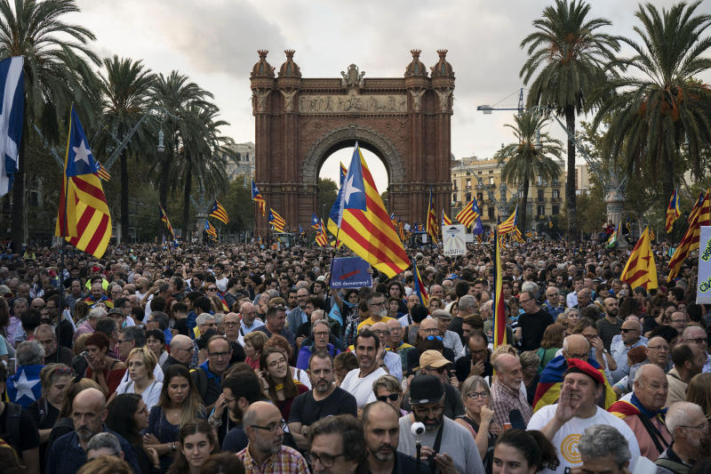 Pro-independence supporters with Catalan flags