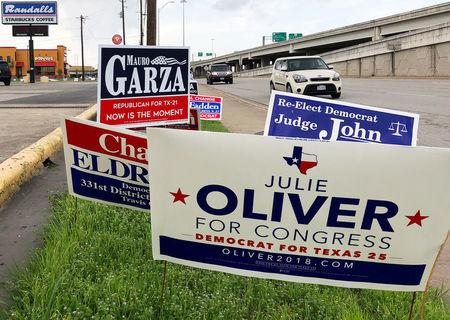 Political campaign signs stand outside a polling station in Austin, Texas, United States March 5, 2018 ahead of the first statewide U.S. primary, which will be held in Texas.  REUTERS/Jon Herskovitz