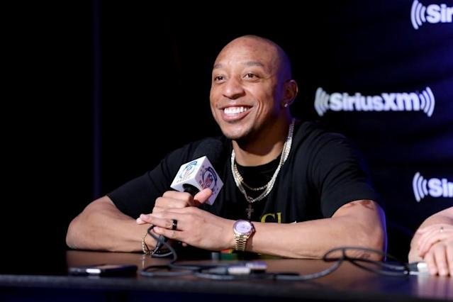 """Cornerback Chris Harris Jr. takes part in a SiriusXM event at Super Bowl LIV on Jan. 30 in Miami. <span class=""""copyright"""">(Cindy Ord / Getty Images for SiriusXM)</span>"""