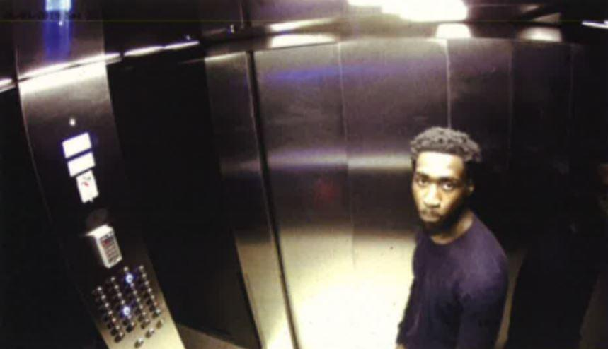 CCTV shows Joel Osei in the lift as he arrived at Adrian Murphy's flat. (PA/CPS)