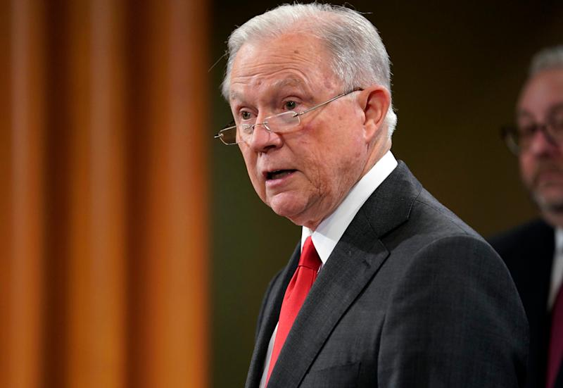 Attorney General Jeff Sessions speaks during a news conference in Washington on Nov. 1, 2018. Sessions resigned from the position on Wednesday. | Pablo Martinez Monsivais—AP/REX/Shutterstock