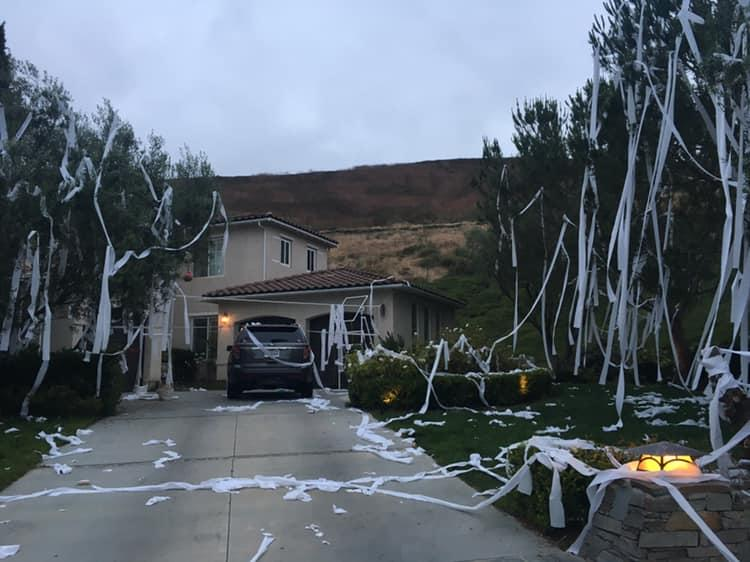 In a lighthearted Facebook post, a California mom promised payback to kids who covered her yard in toilet paper. (Credit: Facebook/Aubrey Dupree Seymour)