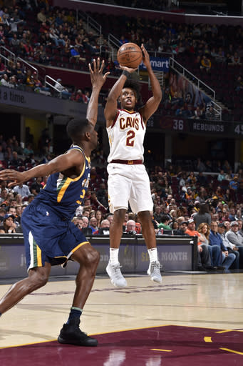 CLEVELAND, OH - JANUARY 4: Collin Sexton #2 of the Cleveland Cavaliers shoots the ball against the Utah Jazz on January 4, 2019 at Quicken Loans Arena in Cleveland, Ohio. (Photo by David Liam Kyle/NBAE via Getty Images)