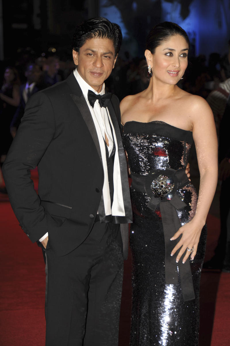 Indian Actors Shah Rukh Khan and Kareena Kapoor arrive  for the RA ONE film premiere at a London Cinema, Tuesday, Oct. 25, 2011. RA ONE is the first Bollywood blockbuster to be released in the UK in 3D. (AP Photo/Marta Ovod)