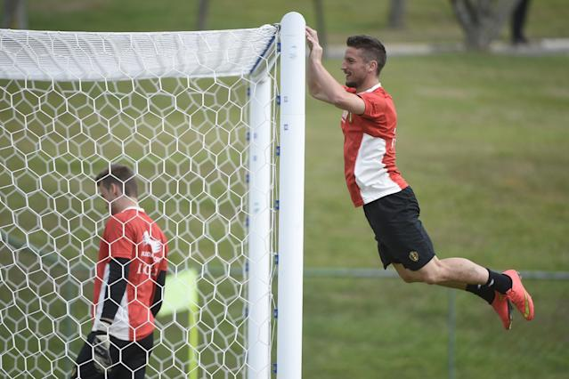 Belgium's midfielder Dries Mertens takes part in a training session in Mogi das Cruzes during the 2014 FIFA World Cup in Brazil on June 29, 2014 (AFP Photo/Martin Bureau)