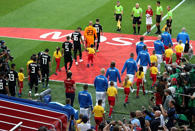 <p>The teams arrive for Argentina vs Iceland at Spartak Stadium </p>