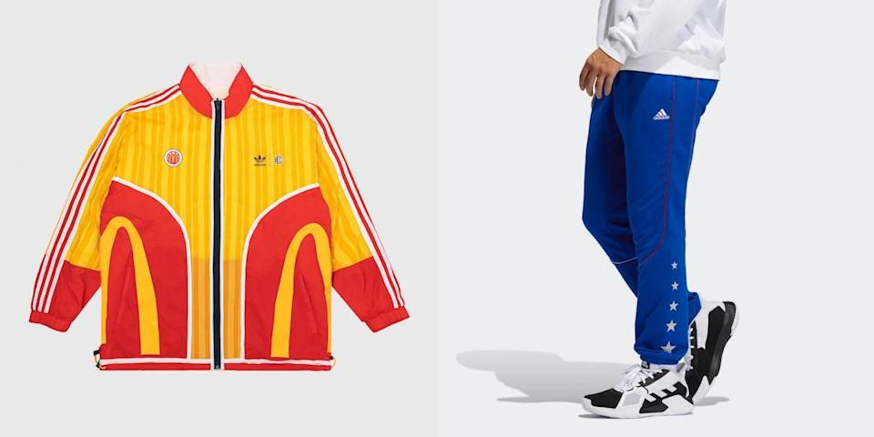 A yellow and red track jacket and blue pants, both from the Adidas' line of McDonald's All American Games collection