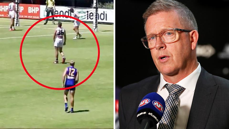 After the AFL's new man the mark 'stand' rule generated significant outcry over the weekend, the league's head of football Steve Hocking has come out in defence of the change. Pictures: 7AFL/Getty Images