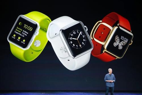 Tim Cook with screen showing the Apple Watch