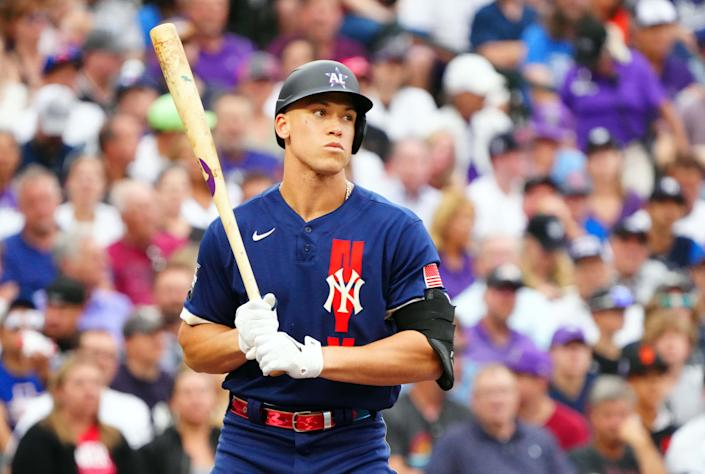 Jul 13, 2021; Denver, Colorado, USA; American League right fielder Aaron Judge of the New York Yankees (99) at bat against the American League during the second inning of the 2021 MLB All Star Game at Coors Field. Mandatory Credit: Mark J. Rebilas-USA TODAY Sports
