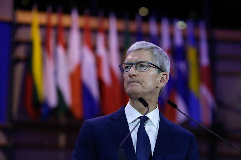 Tim Cook, CEO of Apple Inc talks at the Debating Ethics event at the European Parliament in Brussels on October 24, 2018. (Photo by Aris Oikonomou / AFP) (Photo credit should read ARIS OIKONOMOU/AFP/Getty Images)