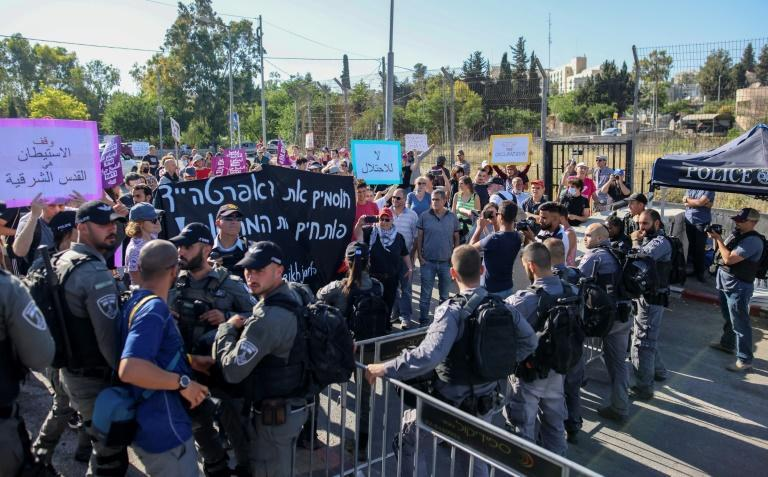"""Palestinian, Israeli, and foreign activists hold up signs reading """"no to the occupation"""", and """"stop apartheid"""", as they approach Israeli guards during a demonstration in Sheikh Jarrah on June 4"""