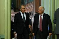 Russian Foreign Minister Sergei Lavrov (l) and EU foreign policy chief Josep Borrell held a joint press conference but with relations at a low