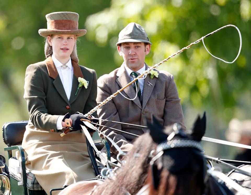 WINDSOR, UNITED KINGDOM - MAY 12: (EMBARGOED FOR PUBLICATION IN UK NEWSPAPERS UNTIL 24 HOURS AFTER CREATE DATE AND TIME) Lady Louise Windsor takes part in 'The Champagne Laurent-Perrier Meet of the British Driving Society' on day 5 of the Royal Windsor Horse Show in Home Park on May 12, 2019 in Windsor, England. (Photo by Max Mumby/Indigo/Getty Images)